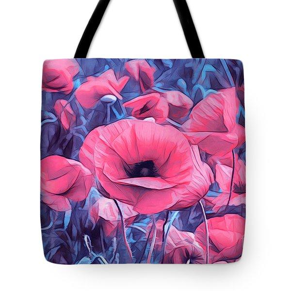 Modern Poppies Tote Bag