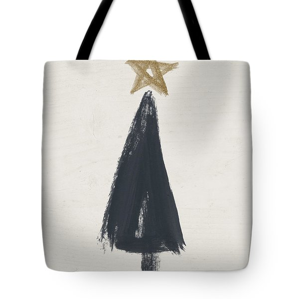 Modern Primitive Black And Gold Tree 3- Art By Linda Woods Tote Bag