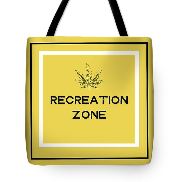 Tote Bag featuring the mixed media Modern Recreation Zone Sign- Art By Linda Woods by Linda Woods