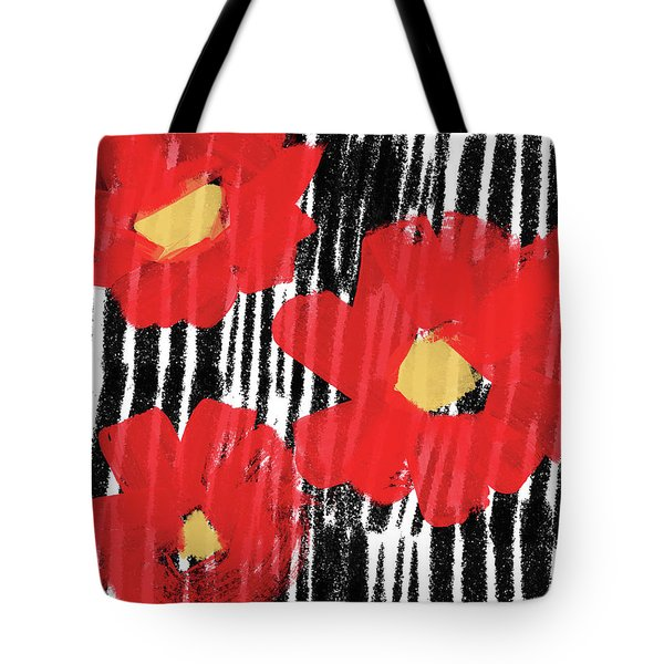 Tote Bag featuring the mixed media Modern Red Flowers- Art By Linda Woods by Linda Woods