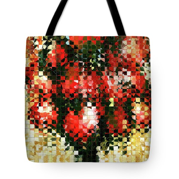 Tote Bag featuring the painting Modern Red Poppies - Pieces 4 - Sharon Cummings by Sharon Cummings