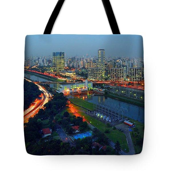 Modern Sao Paulo Skyline - Cidade Jardim And Marginal Pinheiros Tote Bag
