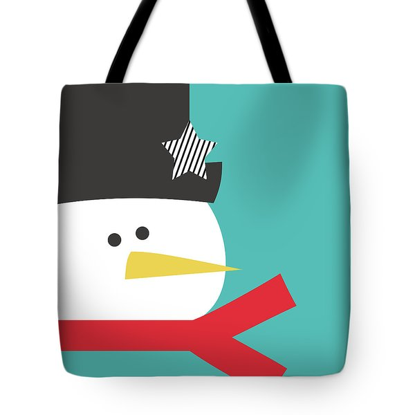Modern Snowman With Star- Art By Linda Woods Tote Bag