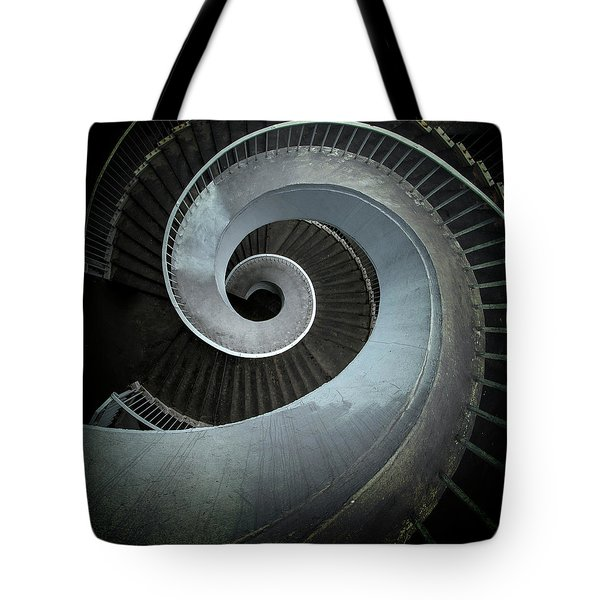 Tote Bag featuring the photograph Modern Spiral Stairs by Jaroslaw Blaminsky