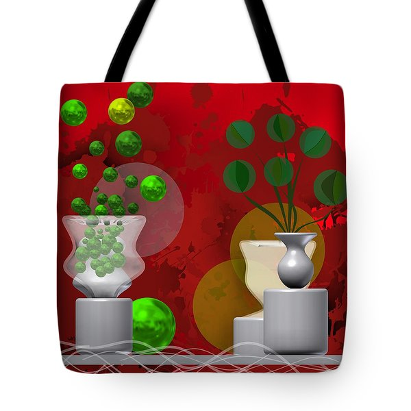 Modern Still Life In Bright Red Tote Bag
