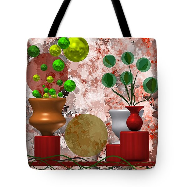 Modern Still Life With Abstract Flowers Tote Bag