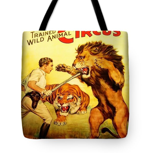 Tote Bag featuring the digital art Modern Vintage Circus Poster by ReInVintaged