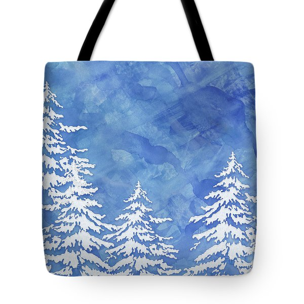 Modern Watercolor Winter Abstract - Snowy Trees Tote Bag
