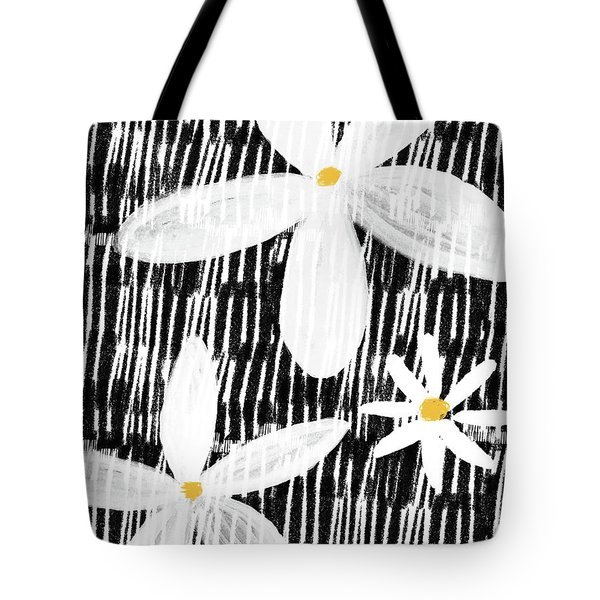Tote Bag featuring the mixed media Modern White Flowers- Art By Linda Woods by Linda Woods