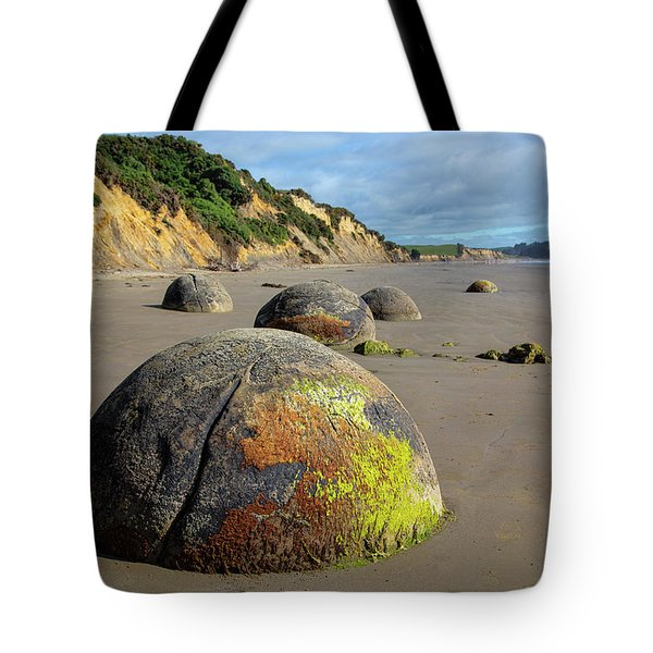 Tote Bag featuring the photograph Moeraki Boulders by Cheryl Strahl