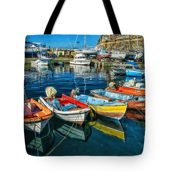 Tote Bag featuring the photograph Mogan Fishing Boats by Brian Tarr