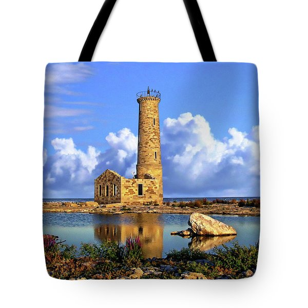 Mohawk Island Lighthouse Tote Bag by Anthony Dezenzio