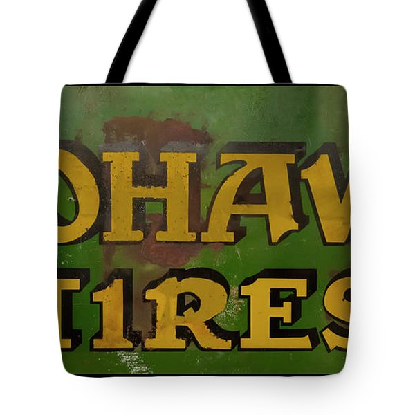 Tote Bag featuring the photograph Mohawk Tires Antique Sign by Chris Flees