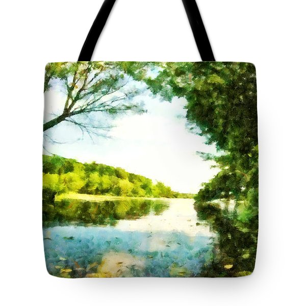 Tote Bag featuring the photograph Mohegan Lake By The Bridge by Derek Gedney