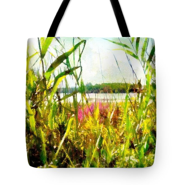 Tote Bag featuring the painting Mohegan Lake In The Brush by Derek Gedney