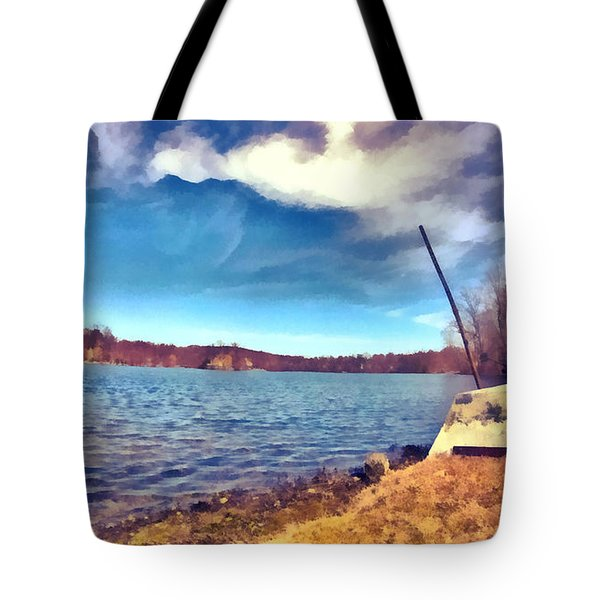 Tote Bag featuring the painting Mohegan Lake Lonely Boat by Derek Gedney