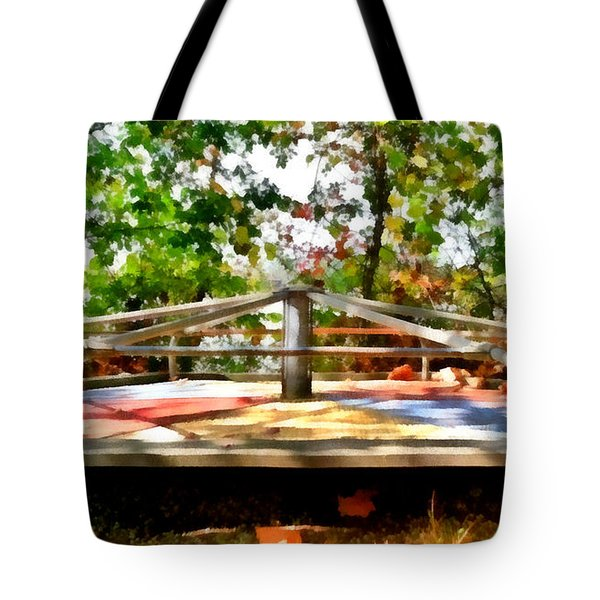 Tote Bag featuring the painting Mohegan Lake Merry-go-round by Derek Gedney