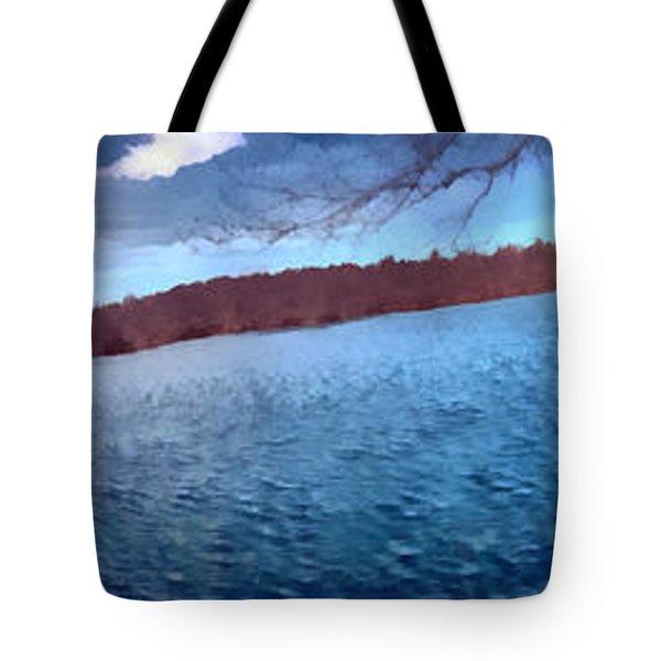 Tote Bag featuring the painting Mohegan Lake Panoramic Lake by Derek Gedney