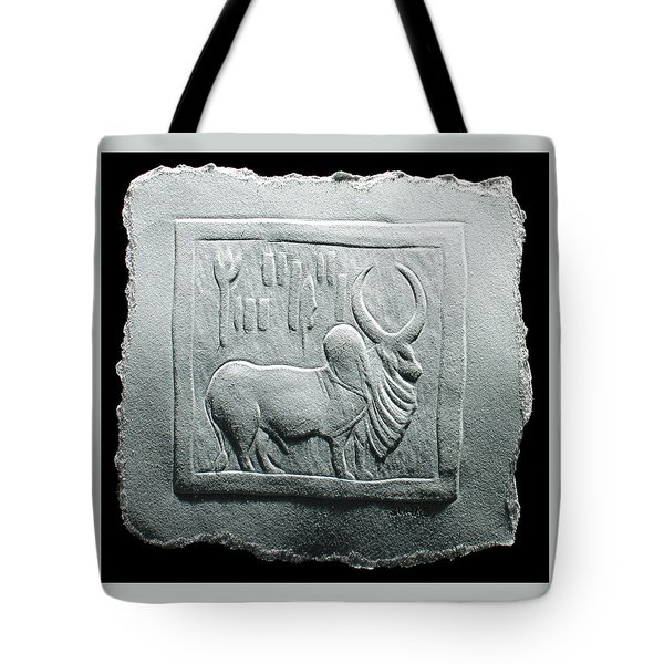 Tote Bag featuring the relief Mohenjodaro Seal Relief Drawing by Suhas Tavkar