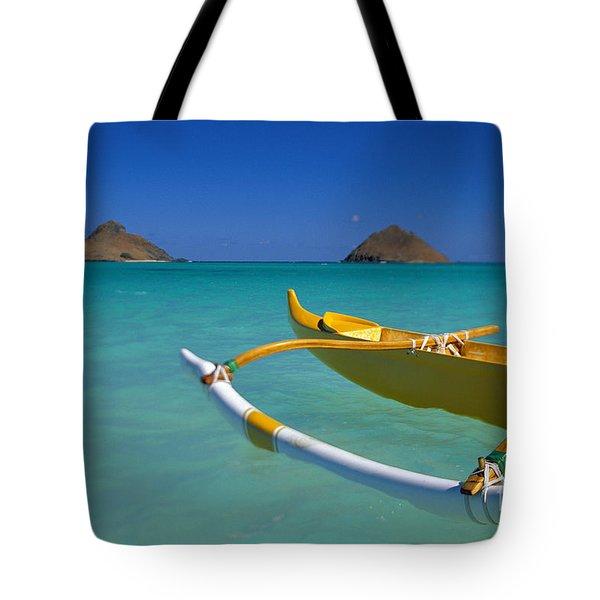 Mokulua Islands, Outrigger Tote Bag by Dana Edmunds - Printscapes