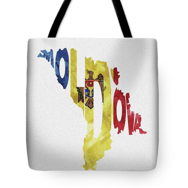 Moldova Typographic Map Flag Tote Bag
