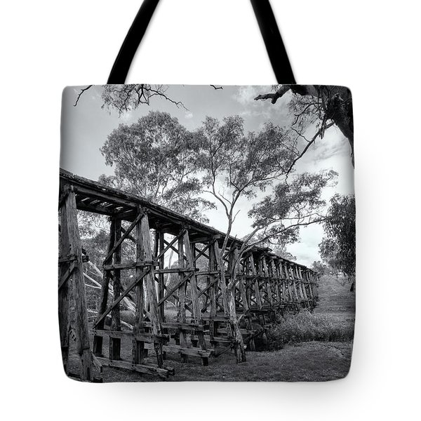 Tote Bag featuring the photograph Mollisons Creek Trestle Bridge by Linda Lees