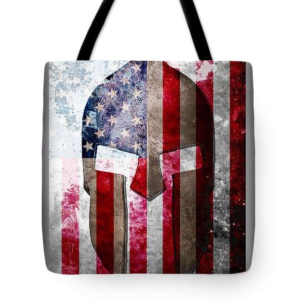 Molon Labe - Spartan Helmet Across An American Flag On Distressed Metal Sheet Tote Bag by M L C