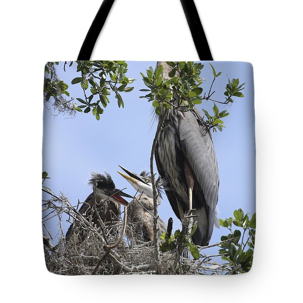 Mom And Babies Tote Bag