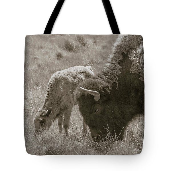 Tote Bag featuring the photograph Mom And Baby Buffalo by Rebecca Margraf