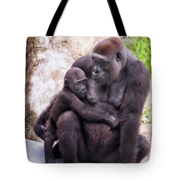 Mom And Baby Gorilla Sitting Tote Bag by Stephanie Hayes