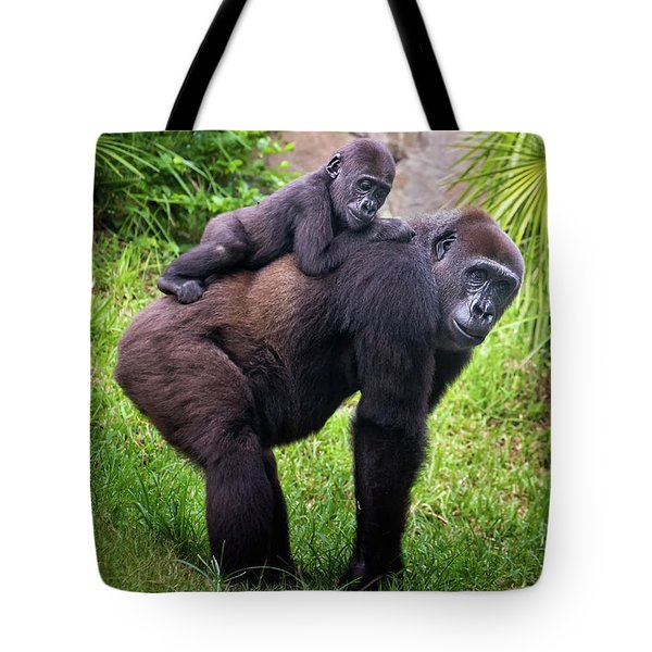 Mom And Baby Gorilla Tote Bag by Stephanie Hayes