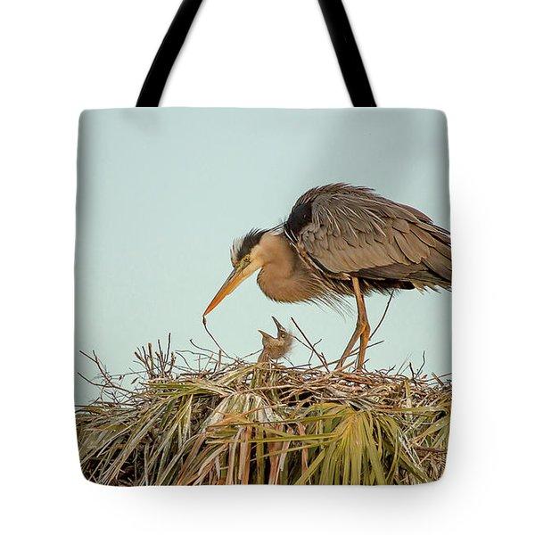Mom And Chick Tote Bag