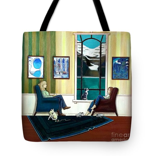Mom And Daughter Sitting In Chairs With Sphynxes Tote Bag