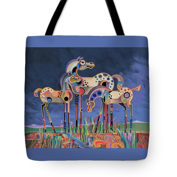 Mom And Foals Tote Bag by Bob Coonts