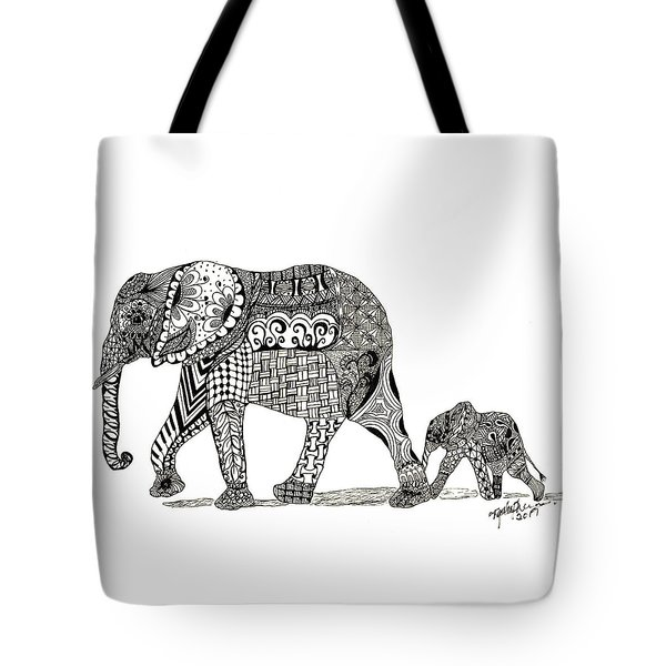 Momma And Baby Elephant Tote Bag