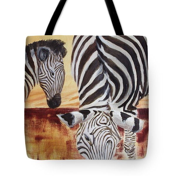 Tote Bag featuring the painting Momma And Baby by Todd Blanchard
