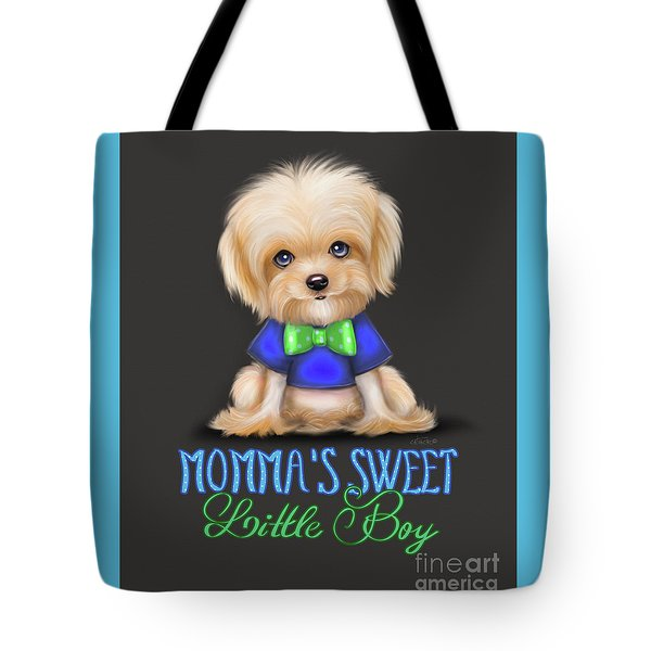 Tote Bag featuring the painting Mommas Sweet Little Boy by Catia Lee