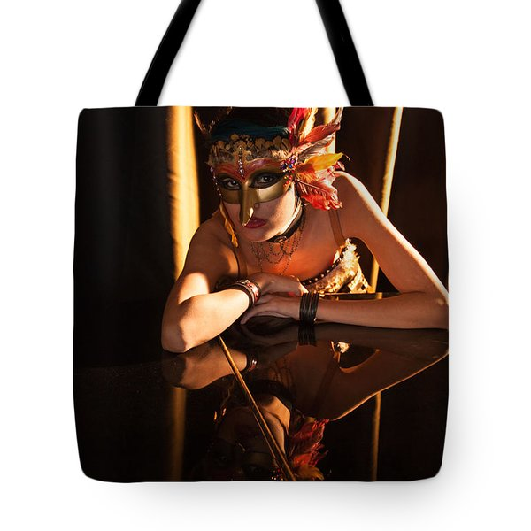 Mona. Reflection On Grand Piano Tote Bag