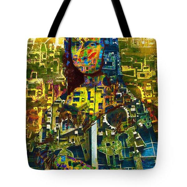 Tote Bag featuring the mixed media Mona by Tony Rubino