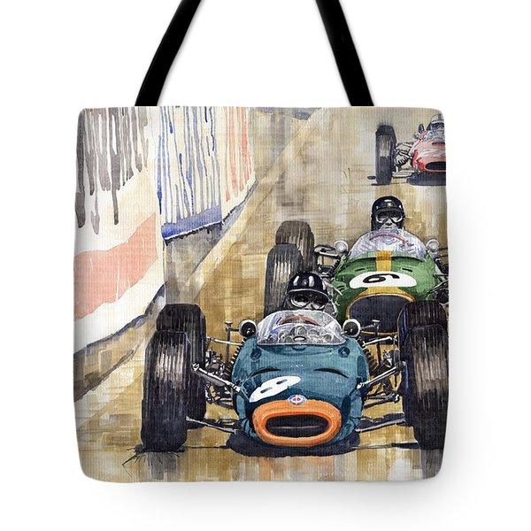 Monaco Gp 1964 Brm Brabham Ferrari Tote Bag