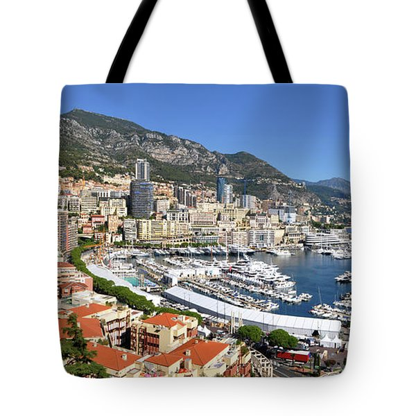 Tote Bag featuring the photograph Monaco Port Hercule Panorama by Yhun Suarez
