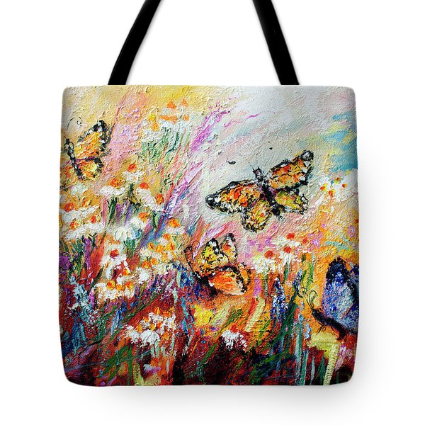 Monarch Butterflies And Chamomile Flowers Tote Bag