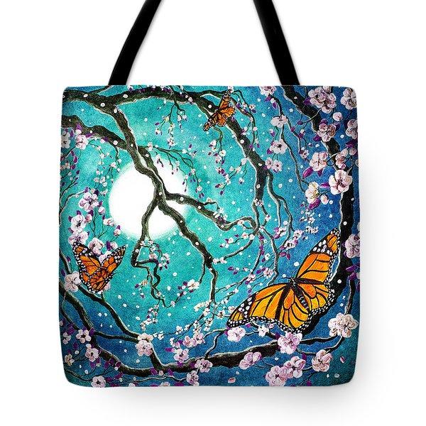 Monarch Butterflies In Teal Moonlight Tote Bag