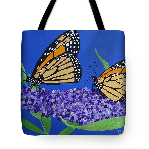 Monarch Butterflies On Buddleia Flower Tote Bag
