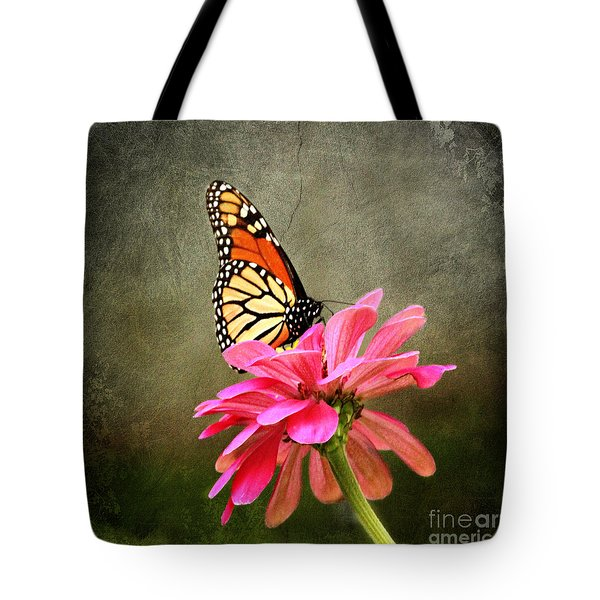Monarch Butterfly And Pink Zinnia Tote Bag by Judy Palkimas