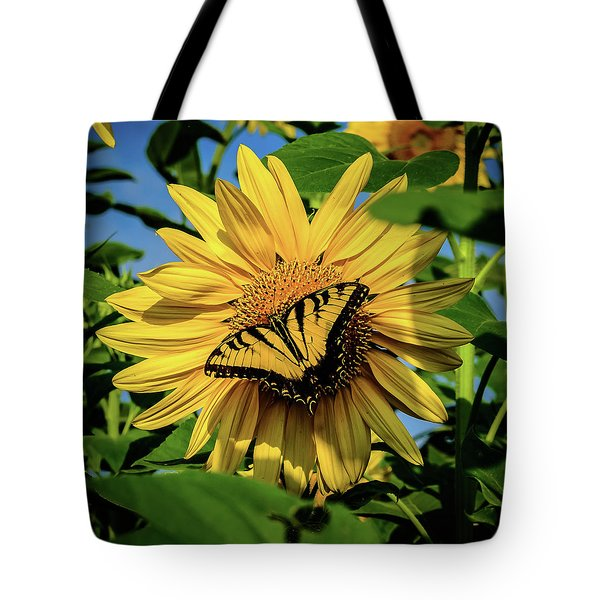 Tote Bag featuring the photograph Male Eastern Tiger Swallowtail - Papilio Glaucus And Sunflower by Louis Dallara
