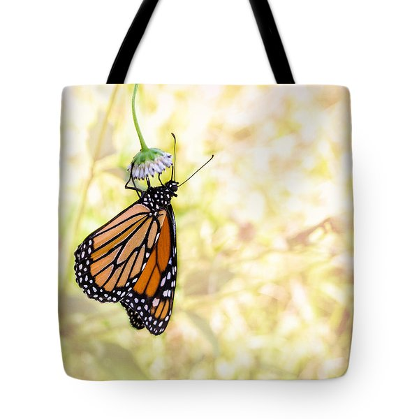 Monarch Butterfly Hanging On Wildflower Tote Bag