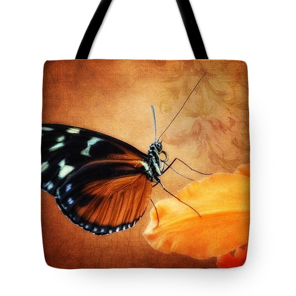 Monarch Butterfly On An Orchid Petal Tote Bag