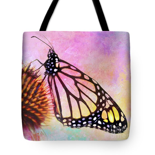 Monarch Butterfly On Coneflower Abstract Tote Bag