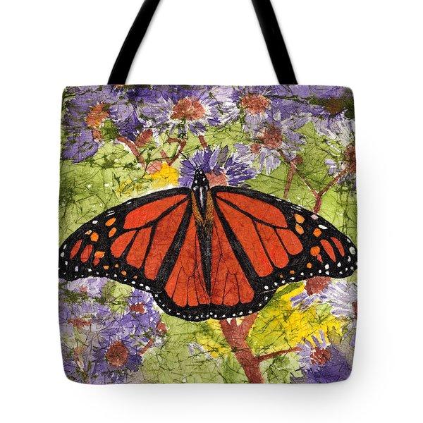 Monarch Butterfly On Purple Flowers Watercolor Batik Tote Bag